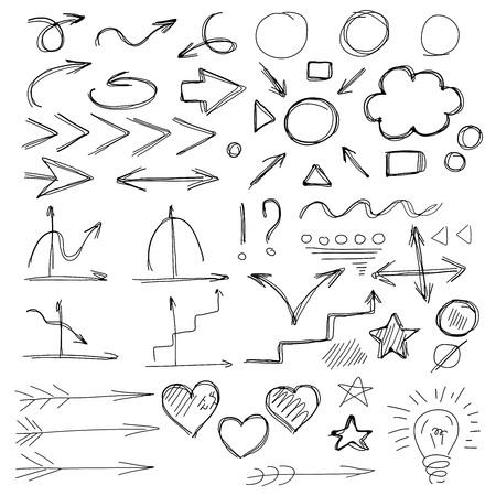 indexes: Pen sketch arrow collection for your design. Hand drawn arrows and lines.