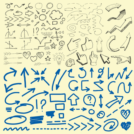 indexes: Pen sketch arrow collection for your design. Hand drawn set of different vector arrows and lines. Illustration