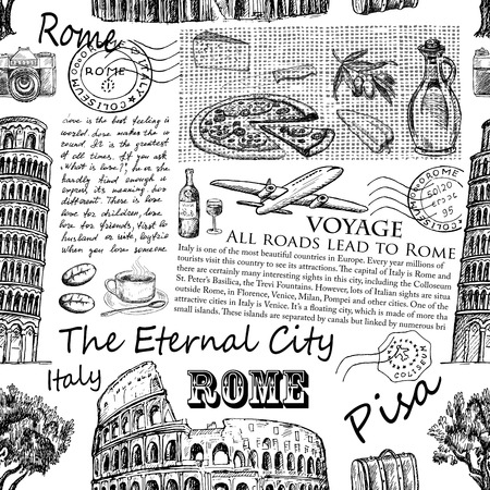 Hand drawn sketch Italy, Rome, Pisa vintage seamless pattern.