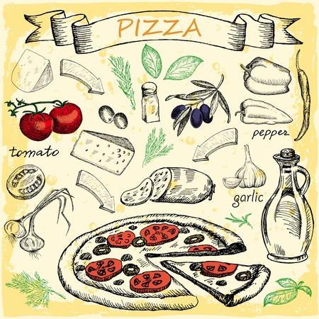 Pizza with set of ingredients for design menu. Vintage fast food background.