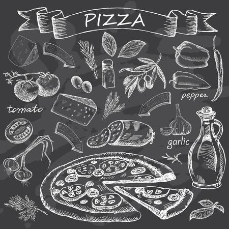 Pizza con el conjunto de ingredientes para el menú de diseño. de comida rápida de la vendimia en el fondo de pizarra. Dibujado a mano ilustración vectorial. Ilustración de vector