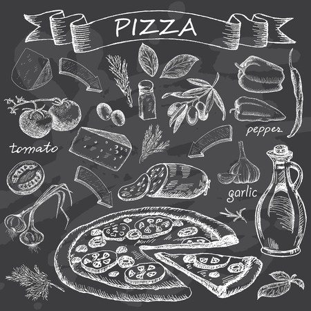 Pizza with set of ingredients for design menu. Vintage fast food on chalk board background. Hand drawn vector illustration.