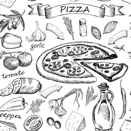 ingredients: Hand drawn sketch Pizza ingredients vintage seamless pattern. Vector illustration background. Illustration