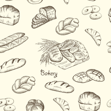 buns: Hand drawn sketch bakery vintage seamless pattern. Vector illustration background.