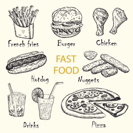 Hand drawn fast food set of vector sketches. Vintage design with fast food illustration.