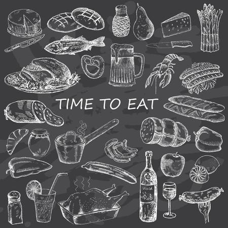 食品デザイン メニューの設定。チョーク ボードの背景にビンテージのファーストフード。手描きのイラスト。  イラスト・ベクター素材