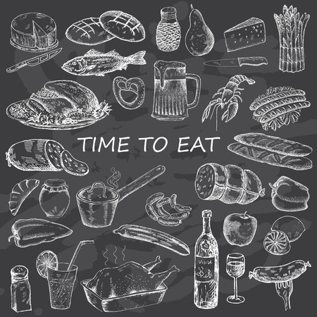 food illustration: Food set for design menu. Vintage fast food on chalk board background. Hand drawn illustration.