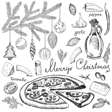 Christmas party with pizza for design menu. Vintage restaurant background. Hand drawn vector illustration.
