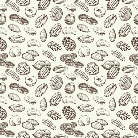 Hand drawn sketch Nuts vintage seamless pattern. Vector illustration background. Flyer, booklet advertising and design. Vettoriali