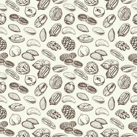 Hand drawn sketch Nuts vintage seamless pattern. Vector illustration background. Flyer, booklet advertising and design. Stock Illustratie