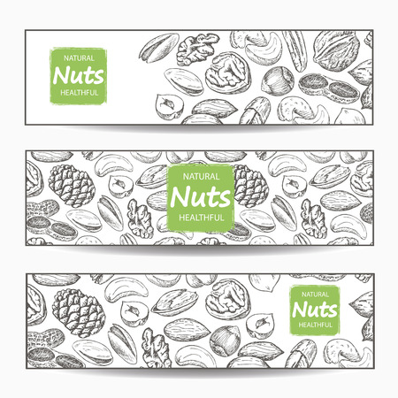 Hand drawn sketch various nuts banners. Line art style. Vector illustration background. Great food banner, flyer, poster Banco de Imagens - 71146156