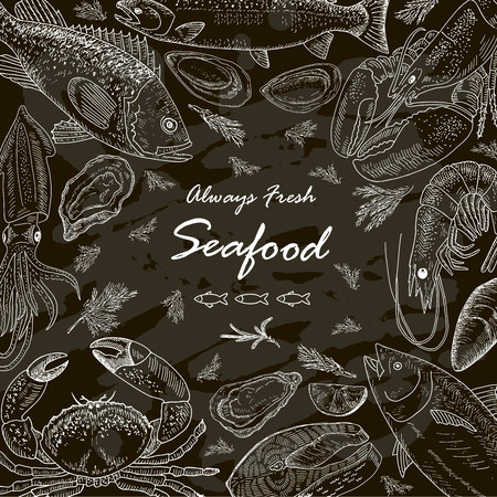 fresh seafood: Seafood set fresh fish. Chalkboard banner. Line art style. Illustration