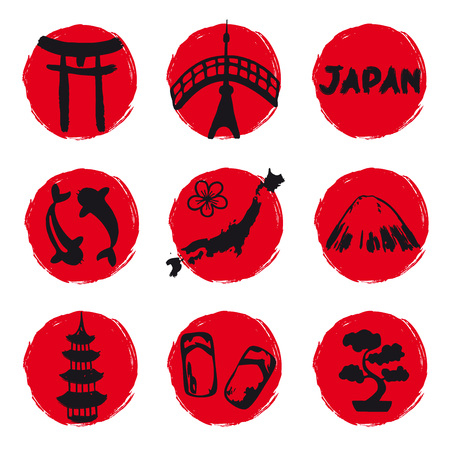 Japan icons located to circle red Stock Photo