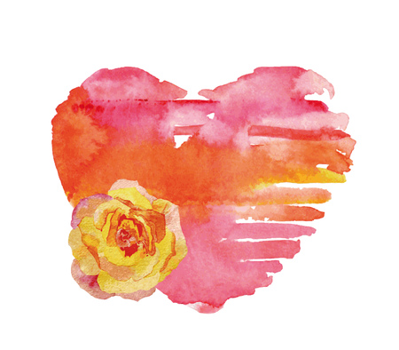 Watercolor heart and rose. Concept - love, relationship, art, painting. Vintage design objects isolated on white background. Illustration