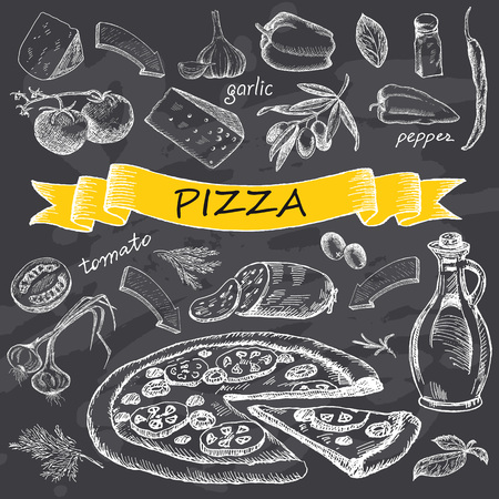 Pizza with set of ingredients with yellow ribbon.