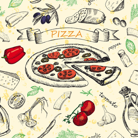 Seamless pattern with pizza and set of ingredients. Sketched hand drawn elements for design menus, recipes and packing. Vintage vector illustration background.