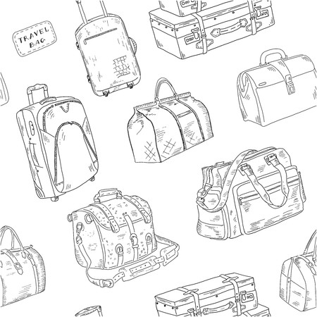 Seamless pattern with Travel bags. Vector sketches hand drawn illustration background. Flyer, booklet advertising and design.