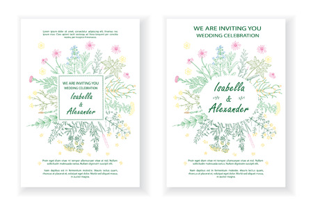 Wedding invitation frames with herbs and wild flowers. Hand drawn vintage vector illustration. Line art style. Rustic template, greenery color. Ilustração