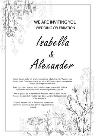 Wedding invitation frames with herbs and wild flowers.