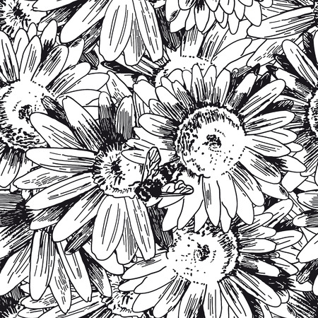 Seamless pattern with a bee collecting honey on flowers. Vector sketches hand drawn illustration background. Flyer, booklet advertising and design. Ilustração