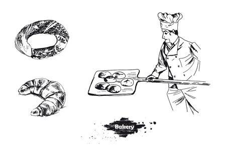 Bakery elements set. Vector sketches hand drawn illustration background. Flyer, booklet advertising and design. Ilustração