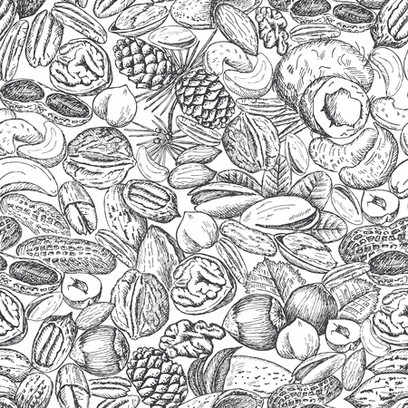 Vector background with hand drawn nuts. Almond, hazelnut, walnut, pecan nut, peanut and cashew drawing. Natural and healthful food seamless pattern.