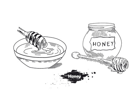 Honey stick. Hand drawn vintage illustration of sketches. Flyer, booklet advertising and design. Line art style.