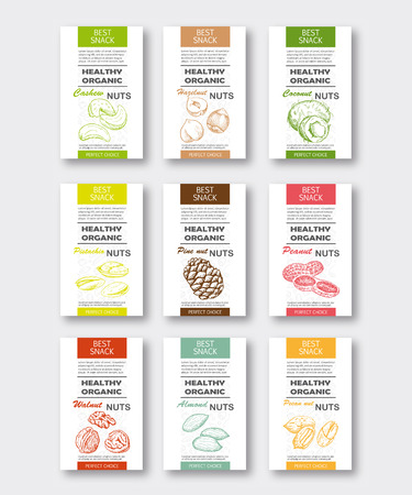 Healthy organic nuts vertical labels set. Vector packaging design. Hand drawn almond, pecan, hazelnut, walnut, peanut, cashew, coconut, pistachio and pine nut