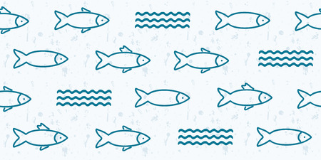 Abstract vector seamless pattern background with fish and waves. Perfect for web page backgrounds, surface textures, textile.