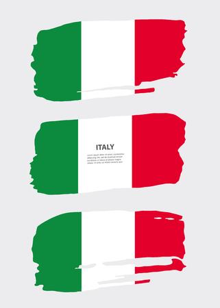 Flag of italy. Grunge brush stroke. Vector illustration. Symbol, poster, banner of the national flag.
