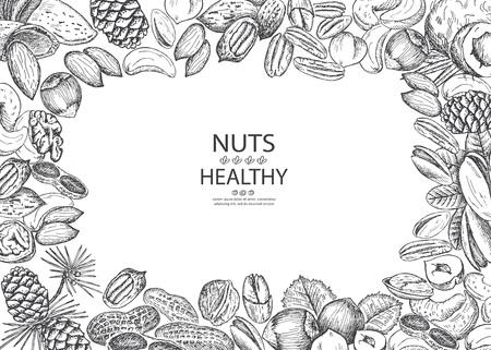 Healthy organic nuts. Vector illustration frame. Vintage design with hand drawn sketch. Line art style. Ilustração