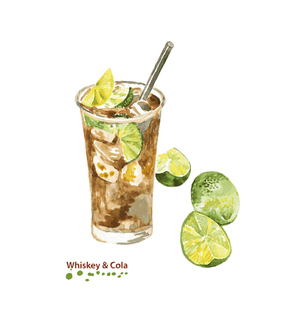 Watercolor Whiskey and Cola cocktail in glass with drinking straw. Hand painted realistic illustration on paper. Vintage design food and drink isolated on white background.