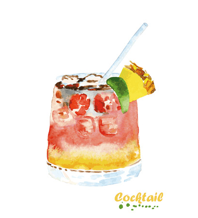 Watercolor cocktail in glass with drinking straw. Hand painted realistic illustration on paper. Vintage design food and drink isolated on white background.