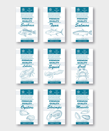Premium quality fish and seafood vertical labels set. Vector packaging design. Hand drawn Tuna, Seabass, Salmon, Lobster, Crab, Squid, Shrimps Oysters Mussels