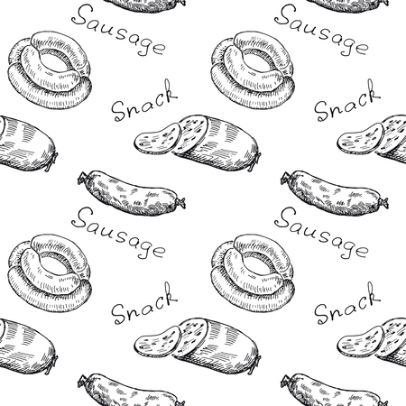 Wrapper. Vintage seamless pattern with sausage, snack and text. Retro hand drawn vector illustration background. Isolated.