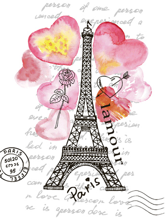 I Love Paris. Eiffel Tower on the background of watercolor heart. Hand painted realistic illustration on paper. Card, poster, flyer, booklet advertising and design.