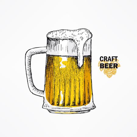 Glass beer mug. Vector sketches hand drawn illustration. Oktoberfest, Sain Patricks day. Use for bar menu, festival decoration, poster, flyer, banner. Иллюстрация