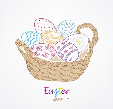 Easter greeting card. Hand drawn vector illustration. Sketched basket with easter eggs. Vintage engraved spring holiday decoration. Use for poster, flyer, banner.