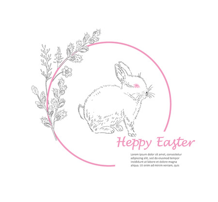 Easter greeting card. Hand drawn vector illustration. Sketched rabbit and willow branch wreath. Vintage engraved spring holiday decoration. Use for poster, flyer, banner.