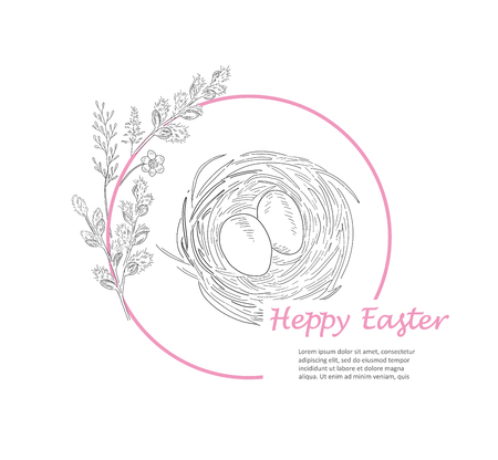 Easter greeting card. Hand drawn vector illustration. Sketched nest with two eggs and willow branch wreath. Vintage engraved spring holiday decoration. Use for poster, flyer, banner.