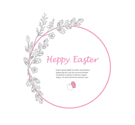 Easter greeting card. Hand drawn vector illustration. Sketched willow branch wreath with flowers. Vintage engraved spring holiday decoration. Use for poster, flyer, banner.