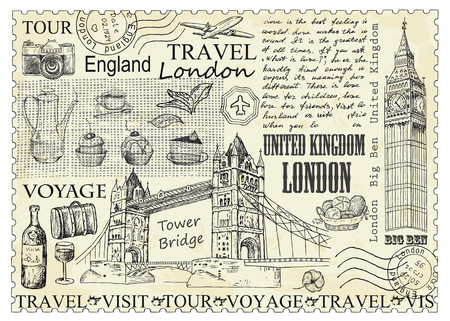 Stamp London with Big Ben and Tower Bridge. Vector illustration. Vintage design with hand drawn sketch. Line art style.
