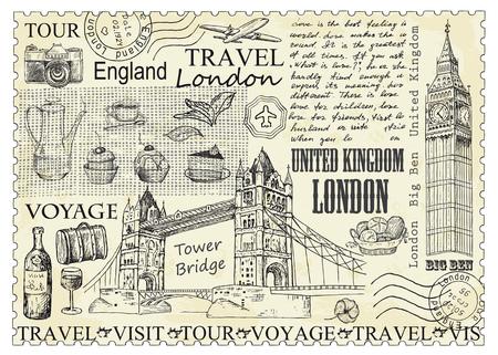Timbro di Londra con il Big Ben e il Tower Bridge. Illustrazione vettoriale. Design vintage con schizzo disegnato a mano. Stile di arte di linea.