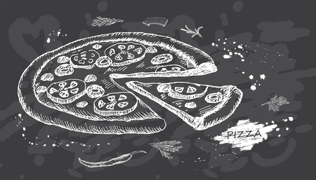 Best hot Pizza on chalk board background. Vector illustration. Vintage design with hand drawn sketch. Line art style. Great for menu, poster or label.