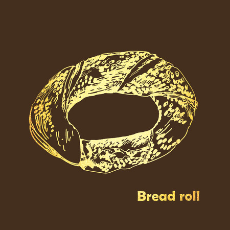 Golden Bread roll. Vector sketches hand drawn illustration. Retro style images. Perfect for flyer design, booklets, advertising.