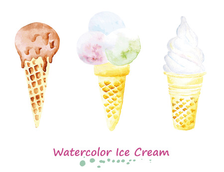 Watercolor set of ice cream in the cone. Hand painted realistic illustration on paper. Vintage design food and drink isolated on white background.
