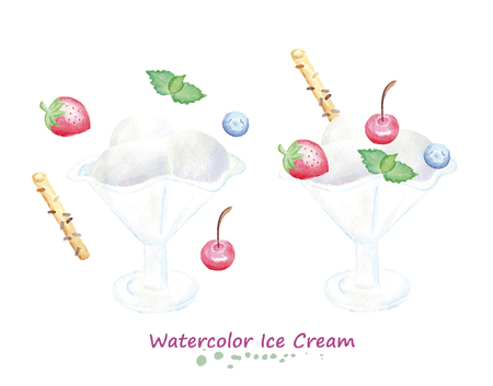 Watercolor balls of ice cream in vase with berries and mint. Hand painted realistic illustration on paper. Vintage design summer food isolated on white background.