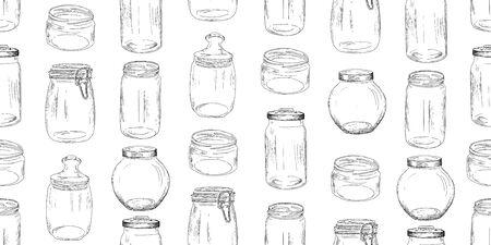 Modèle sans couture de pots en verre. Illustration vectorielle vintage.