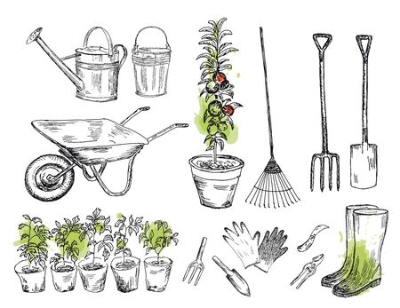Gardening set with watercolor stains. Vector illustration