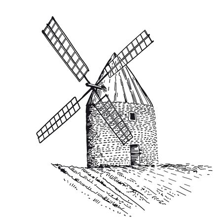 Old wind mill isolated on white background. Traditional wheat farm building with big propeller. Vintage illustration with hand drawn sketch. Line art style. Ilustração